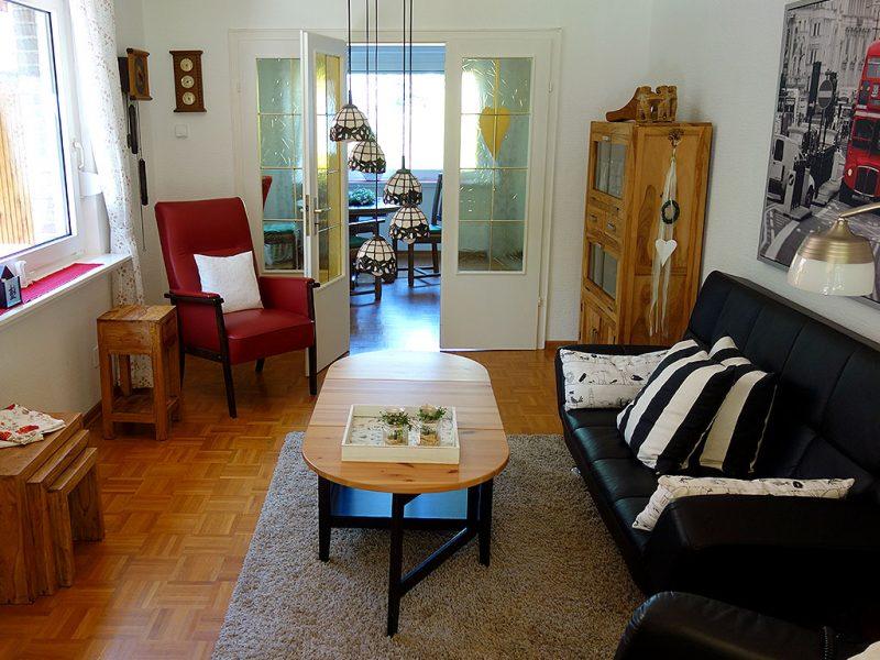 Ansicht vom Wohnzimmer des Ferienhauses